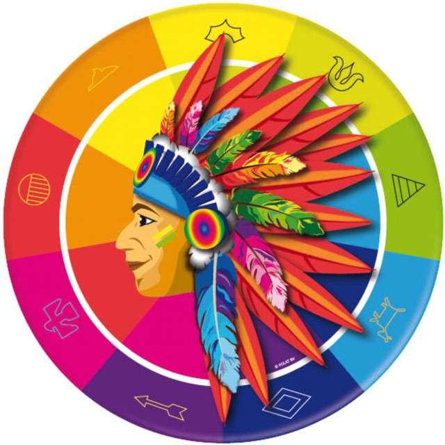 """Talerzyki papierowe """"Indianie"""", mix, FOLAT, 23 cm, 8 szt"""