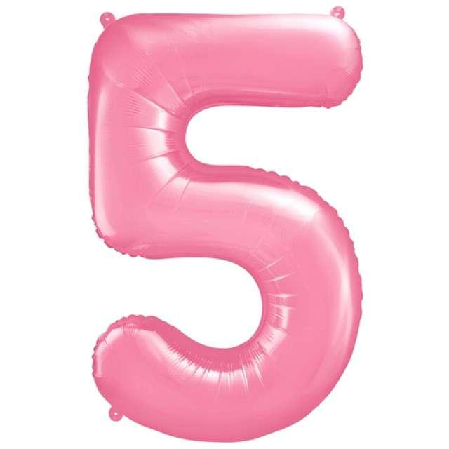 """Balon foliowy cyfra 5, 34"""", PartyDeco, różowy"""