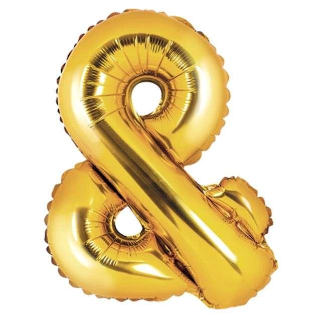 """Balon foliowy znak & - AND, 14"""" , PartyDeco, złoty"""