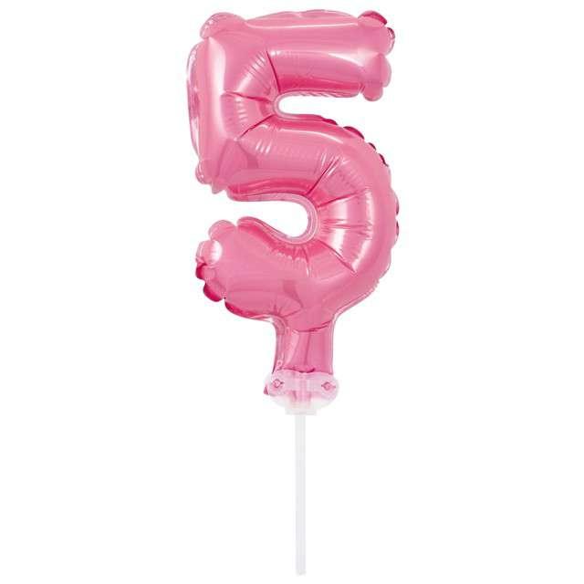 """Balon foliowy """"Cyfra 5 - Micro"""", 5"""", GODAN, różowa"""