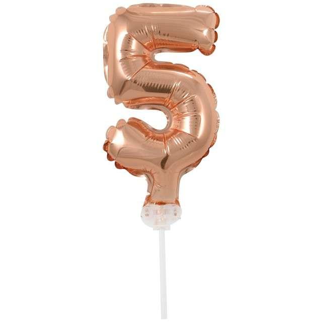 """Balon foliowy """"Cyfra 5 - Micro"""", 5"""", GODAN, różowo-złota"""