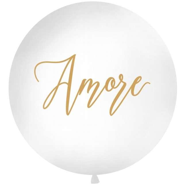 """Balon """"Amore"""", biały, 1 metr, Partydeco"""