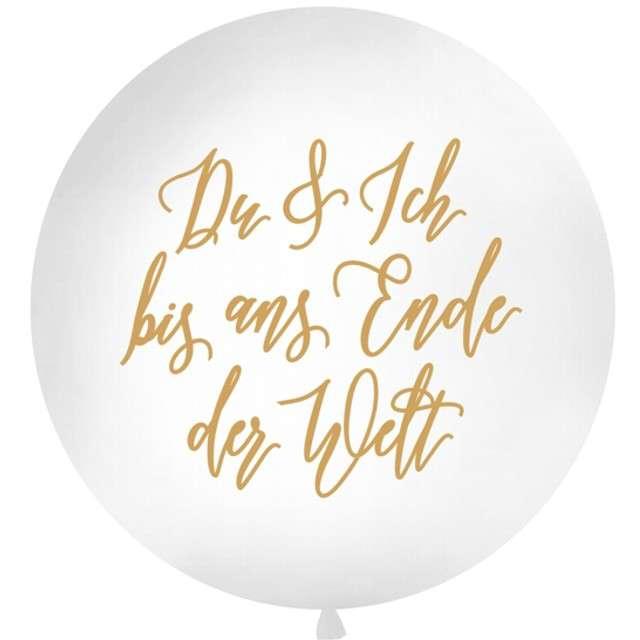 Balon Du & Ich biały 1 metr Partydeco