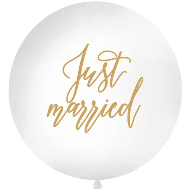 "Balon ""Just married"", biały, 1 metr, Partydeco"