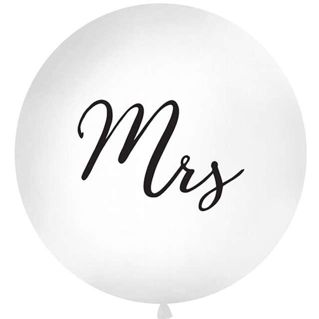 """Balon """"Mrs"""", biały, 1 metr, Partydeco"""