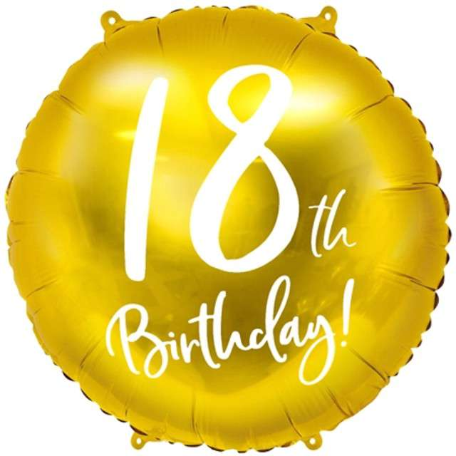Balon foliowy 18 Urodziny 18th Birthday PartyDeco 18 złoty