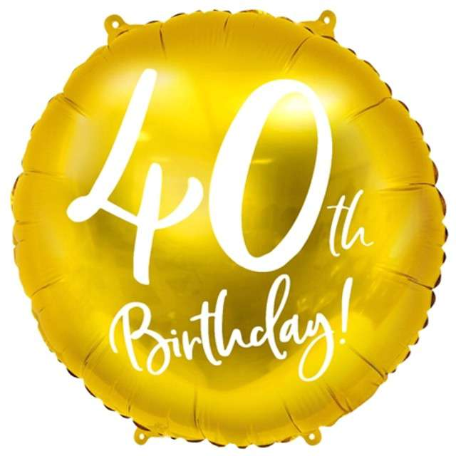 """Balon foliowy """"40 Urodziny 40th Birthday"""", PartyDeco, złoty, 18"""" CIR"""