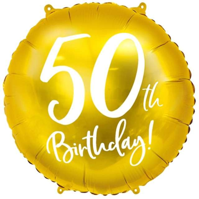 """Balon foliowy """"50 Urodziny 50th Birthday"""", PartyDeco, złoty, 18"""" CIR"""