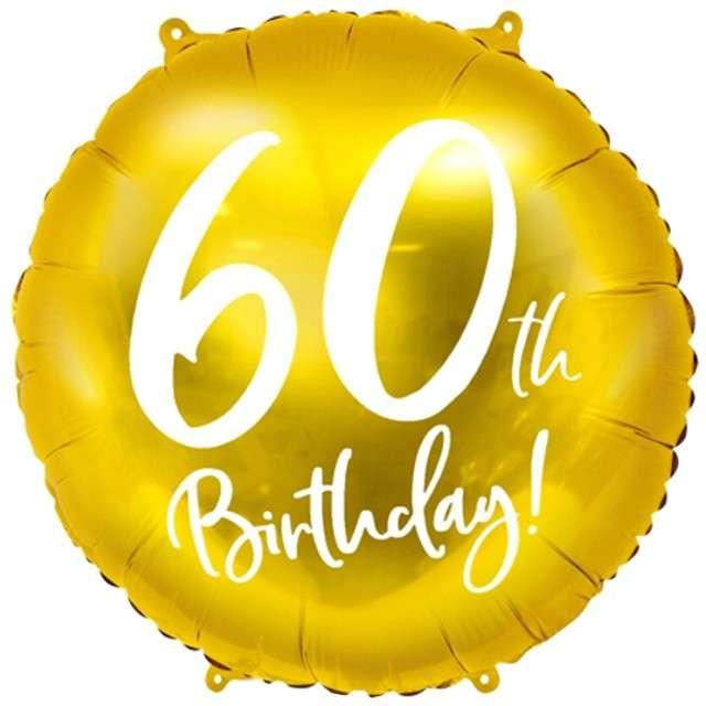 """Balon foliowy """"60 Urodziny 60th Birthday"""", PartyDeco, złoty, 18"""" CIR"""