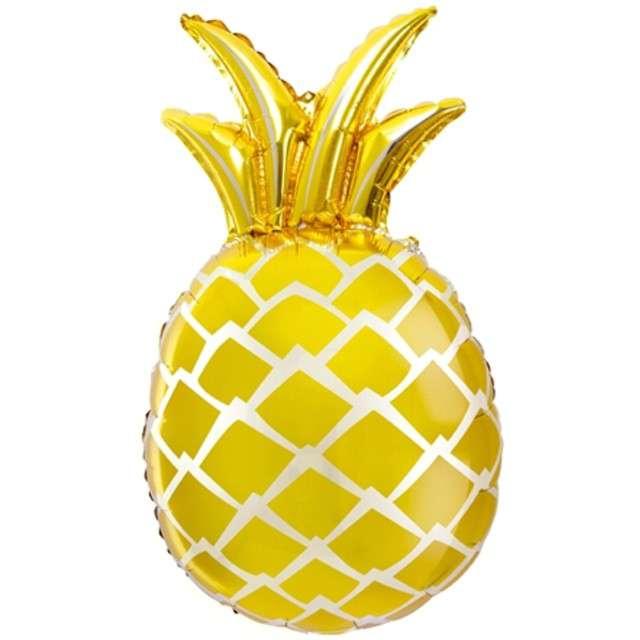 """Balon foliowy """"Ananas"""", 25"""",  PartyDeco, złoty"""
