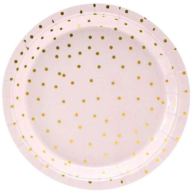"""Talerzyki papierowe """"Kropki"""", różowo jasne, PartyDeco, 18 cm, 6 szt"""