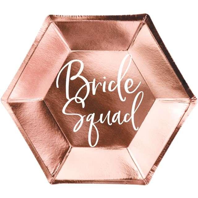"""Talerzyki papierowe """"Bride squad"""", różowe złoto, PartyDeco, 23 cm, 6 szt"""
