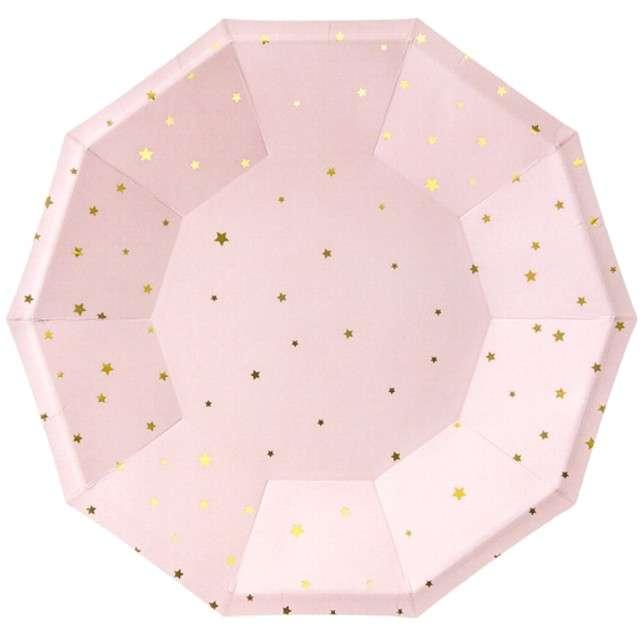 """Talerzyki papierowe """"Gwiazdki"""", różowo jasne, PartyDeco, 18 cm, 6 szt"""