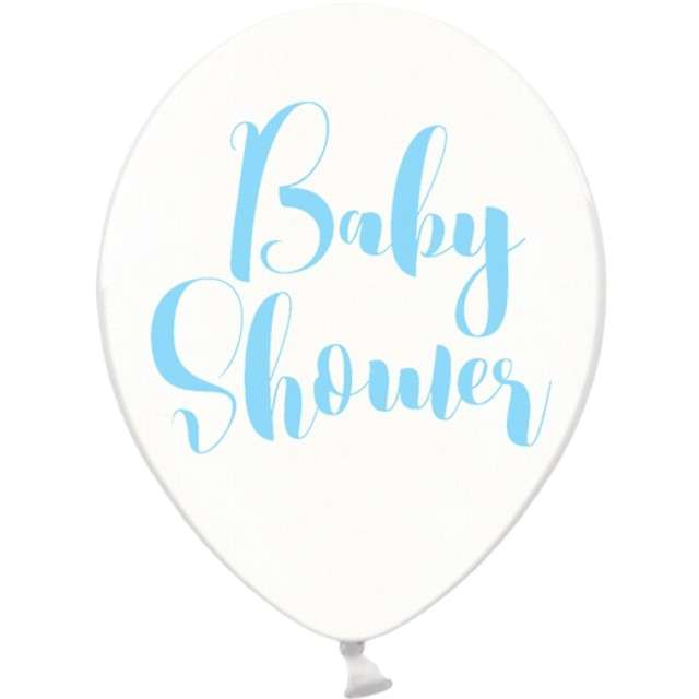 "Balony 12"", ""Baby shower"", niebieski , STRONG, Crystal Clear, 6 szt"