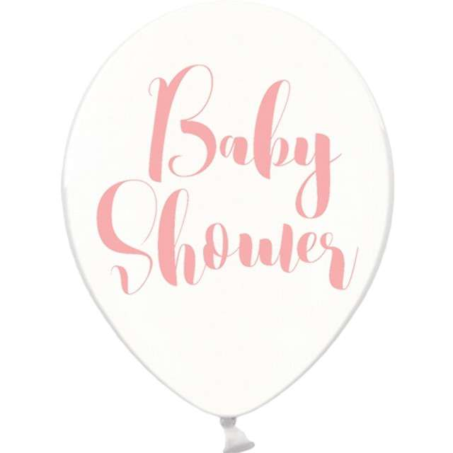 "Balony 12"", ""Baby shower"", różowy , STRONG, Crystal Clear, 6 szt"