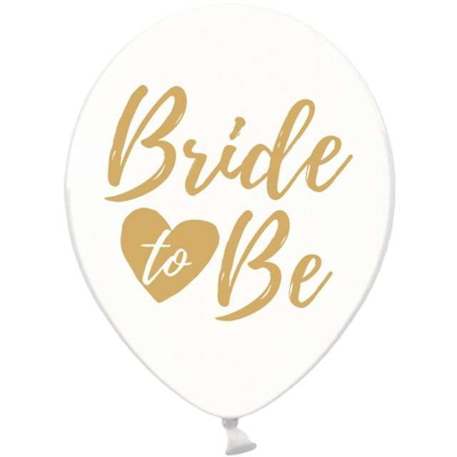 "Balony 12"", ""Bride to be"", złoty , STRONG, Crystal Clear, 6 szt"