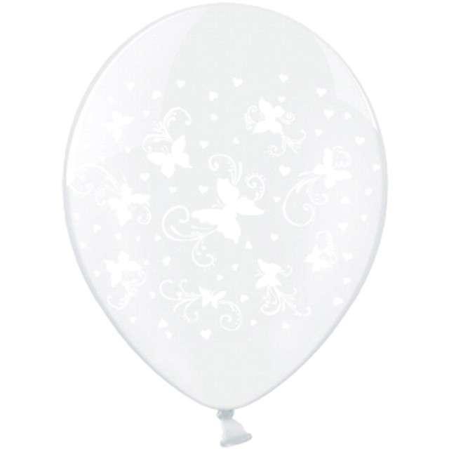 """Balony 12"""", """"Motylki"""", białe, STRONG, Crystal Clear, 50 szt"""