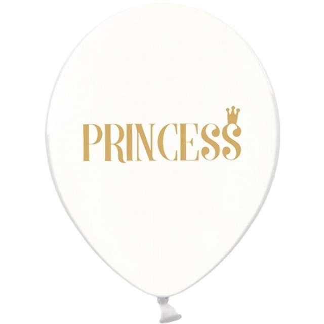 "Balony 12"", ""Princess"", złoty, STRONG, Crystal Clear, 6 szt"