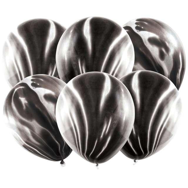 "Balony ""Marmur"", czarny, PartyDeco, 12"", 6 szt"
