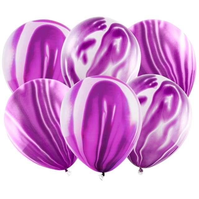 "Balony ""Marmur"", fioletowy, PartyDeco, 12"", 6 szt"
