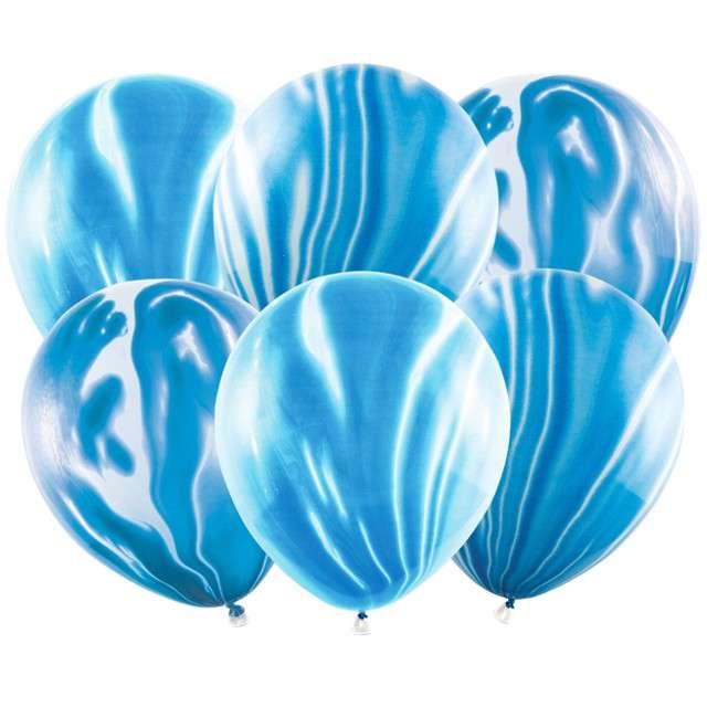 """Balony """"Marmur"""", niebieski, PartyDeco, 12"""", 6 szt"""