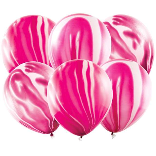 """Balony """"Marmur"""", różowy, PartyDeco, 12"""", 6 szt"""