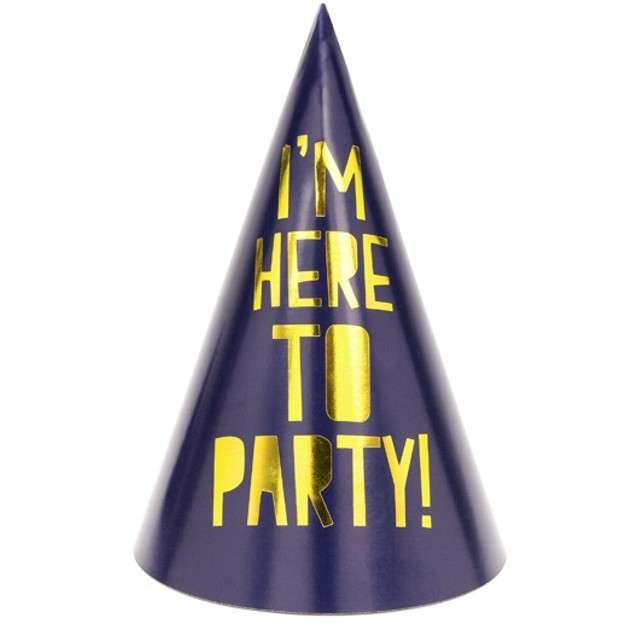 """Czapeczki papierowe """"Lets Celebrate"""", granatowe, PartyDeco, 15,5 cm, 6 szt"""