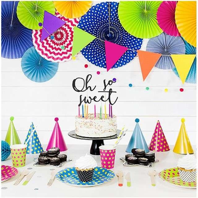 Czapeczki papierowe Pomponiki mix kolorów PartyDeco 16 cm 6 szt