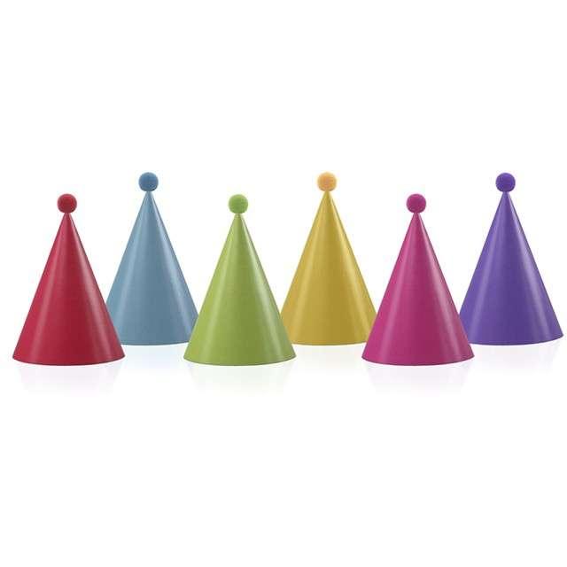 """Czapeczki papierowe """"Pomponiki"""", mix kolorów, PartyDeco, 16 cm, 6 szt"""