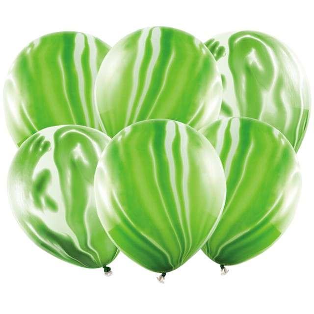"""Balony """"Marmur"""", zielony, PartyDeco, 12"""", 6 szt"""