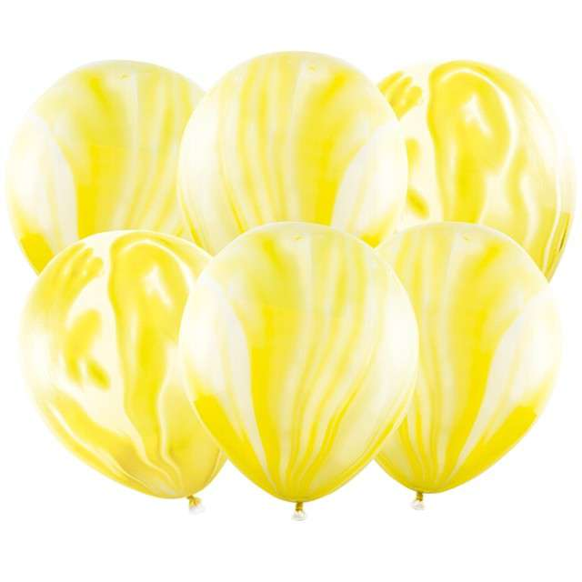 "Balony ""Marmur"", żółty, PartyDeco, 12"", 6 szt"