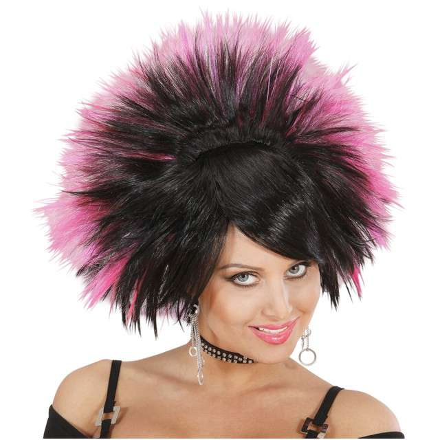 "Peruka party ""Rock Princess"", czarna/różowa, WIDMANN"