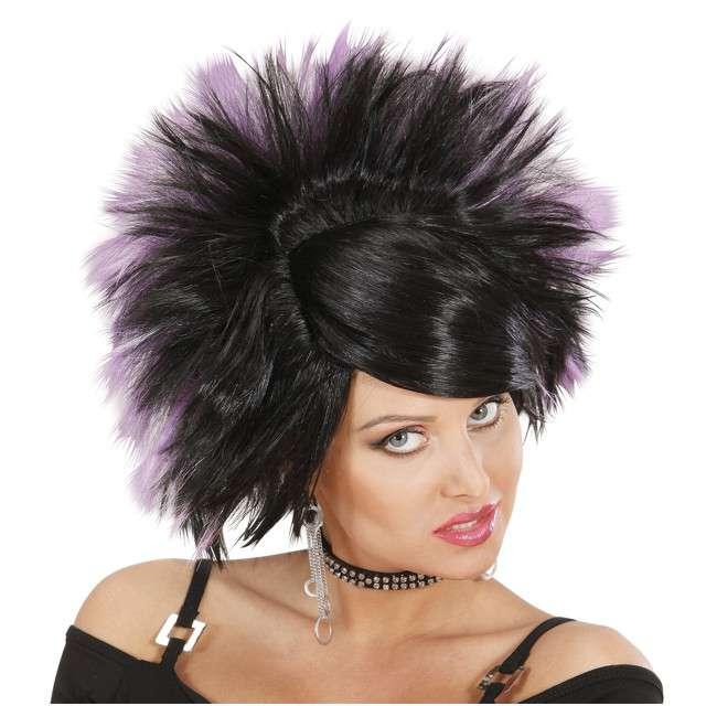 "Peruka party ""Rock Princess"", czarna/purpurowa, WIDMANN"