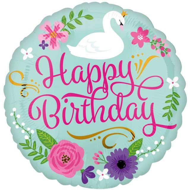 """Balon foliowy """"Swan - Happy Birthday"""", AMSCAN, 18"""" CIR"""