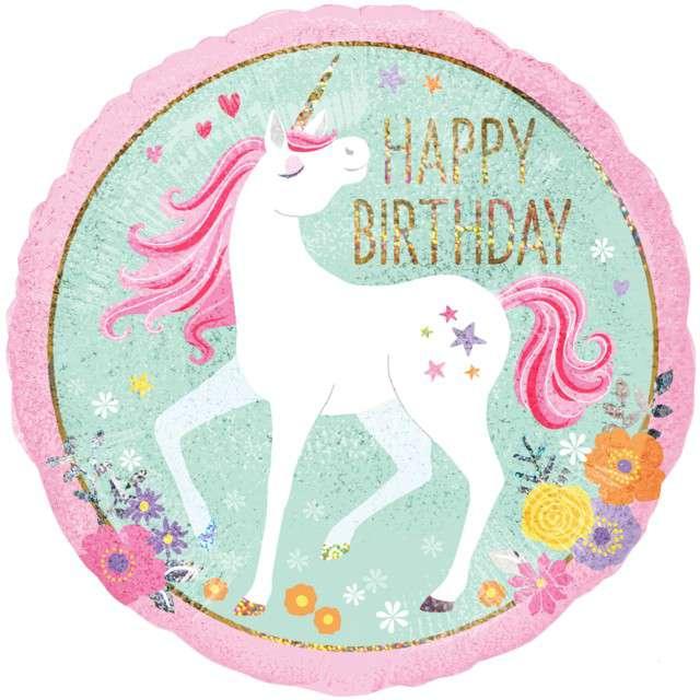 """Balon foliowy """"Magiczny Jednorożec - Happy Birthday"""", holograficzny, AMSCAN, 18"""" CIR"""
