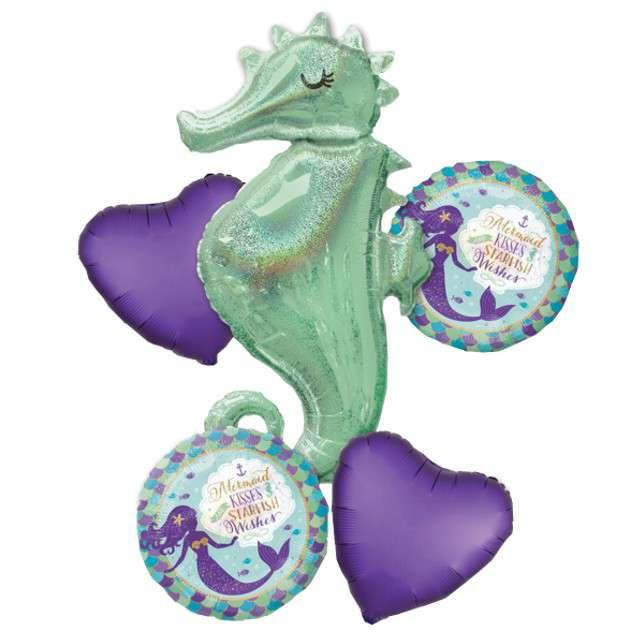 """Balon foliowy """"Konik Wodny - Mermaid Wishes"""", AMSCAN, zestaw"""