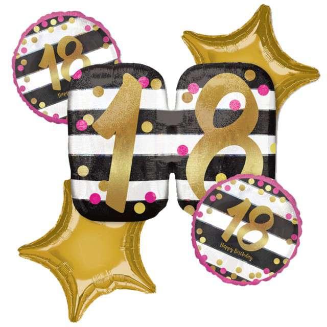 Balon foliowy 18 Urodziny - Milestone AMSCAN zestaw