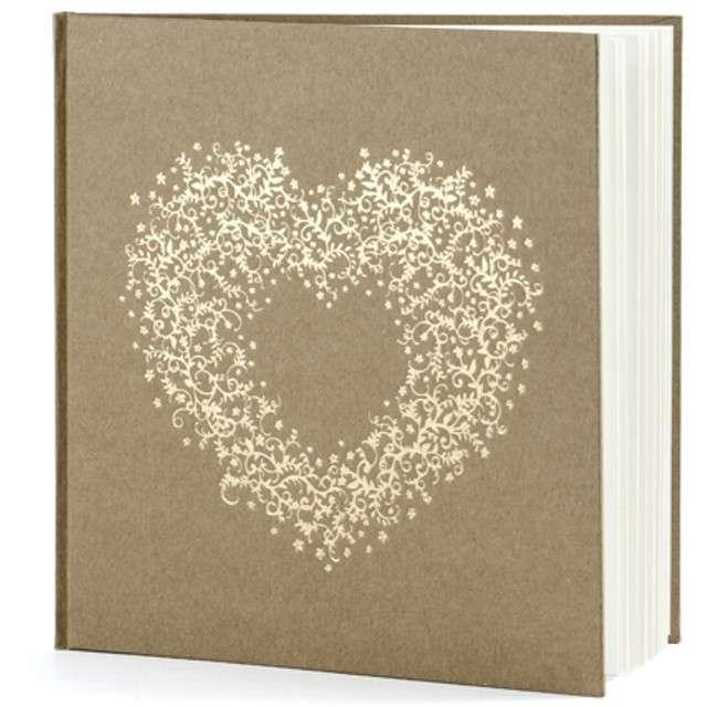 """Księga Gości """"Serce"""", PartyDeco, kraft 20 x 20,5 cm, 22 kartki"""