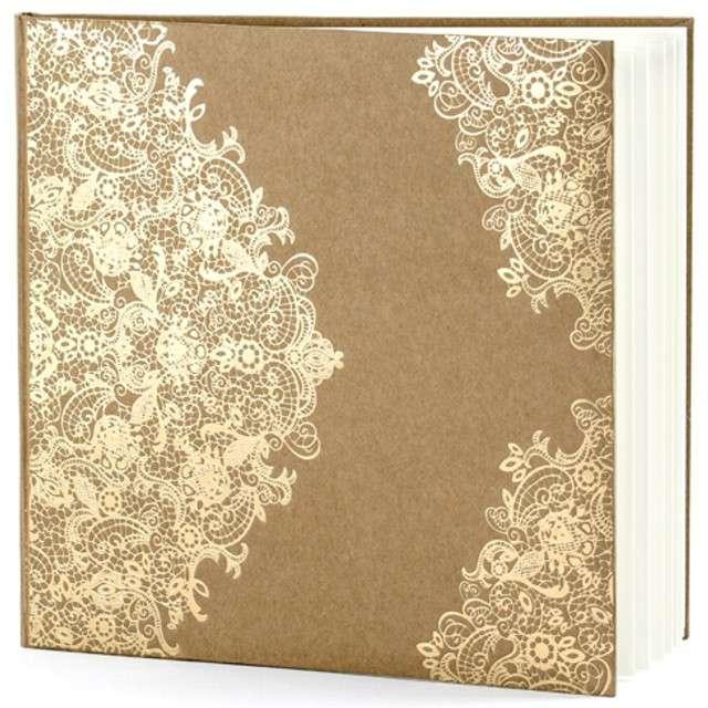 """Księga Gości """"Złoty wzór"""", PartyDeco, kraft 21 x 19,7 cm, 22 kartki"""