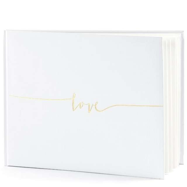 """Księga Gości """"Love"""", PartyDeco, kremowy, 24 x 18,5 cm, 22 kartki"""