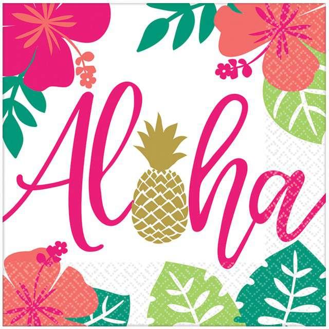"""Serwetki """"Aloha - Ananas"""", AMSCAN, 25 cm, 16 szt"""