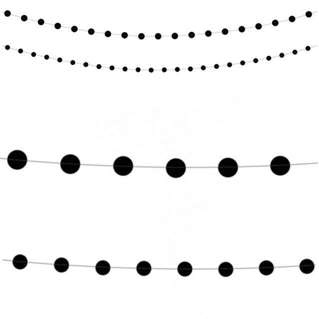 """Girlanda """"Kółka"""", czarna, PartyDeco, 180 cm"""