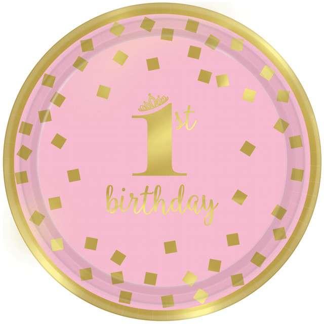 """Talerzyki papierowe """"1st Birthday - Urodziny"""", różowe, AMSCAN, 18 cm, 8 szt"""