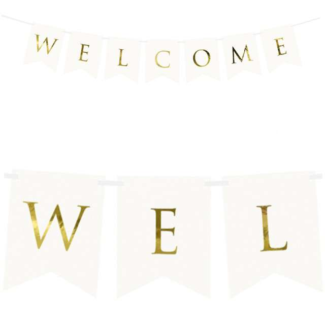 "Baner ""Welcome"", PartyDeco, biały, 95 cm"