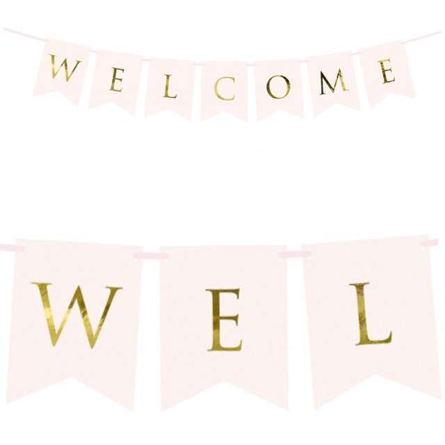 """Baner """"Welcome"""", PartyDeco, różowy jasny, 95 cm"""