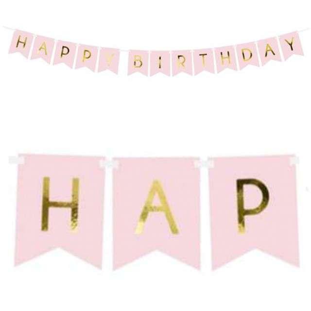 """Baner """"Happy Birthday"""", różowy jasny, PartyDeco, 175 cm"""