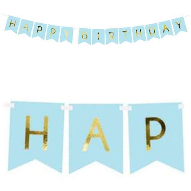 """Baner """"Happy Birthday"""", niebieski jasny, PartyDeco, 175 cm"""