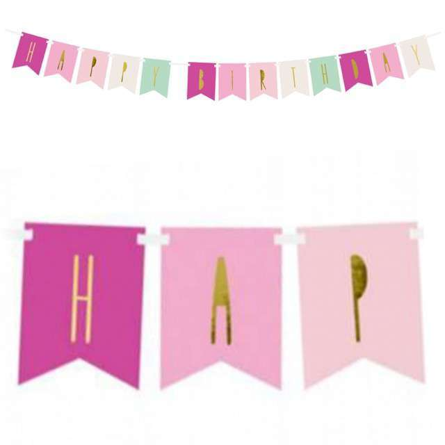 "Baner ""Happy Birthday"", mix 1, PartyDeco, 140 cm"