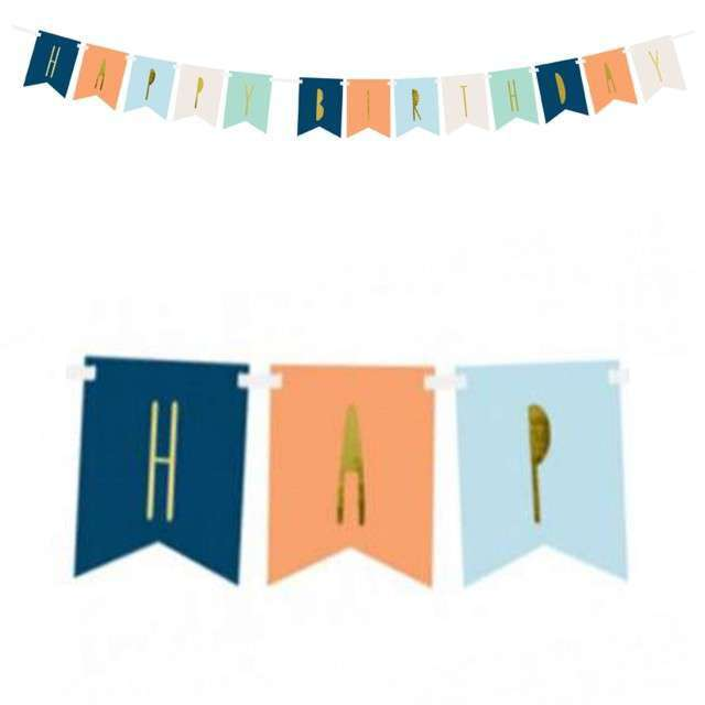 "Baner ""Happy Birthday"", mix 2, PartyDeco, 140 cm"