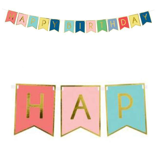 "Baner ""Happy Birthday"", mix 3, PartyDeco, 175 cm"